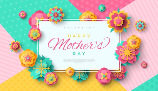 ilustraciones, imágenes clip art, dibujos animados e iconos de stock de tarjeta del día de la madre con marco cuadrado - día de la madre