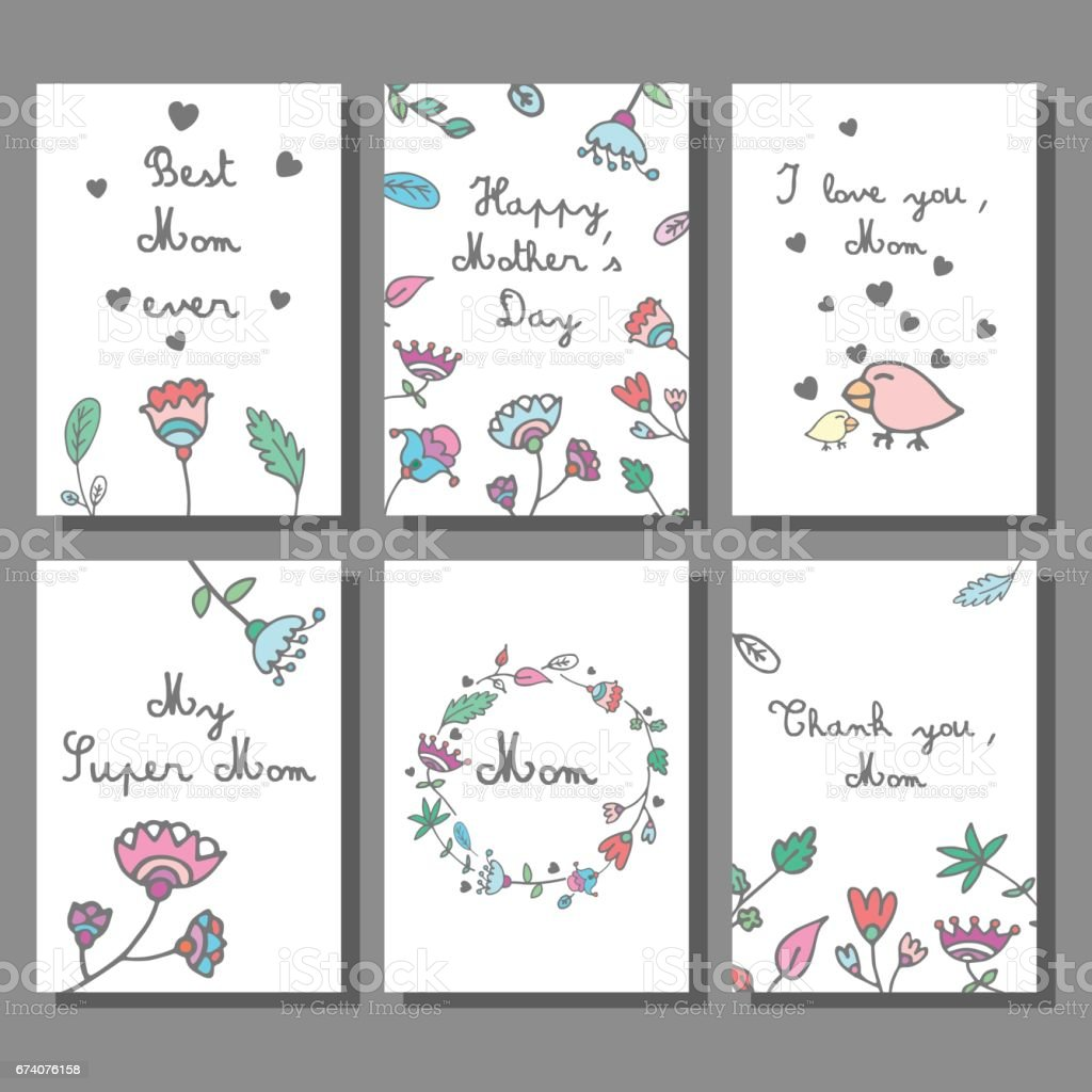 Mother's Day cards set with floral background.Doodle style royalty-free mothers day cards set with floral backgrounddoodle style stock vector art & more images of art