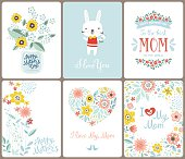 A set of cute greeting cards for Mother's Day with flowers, floral heart, birds, banners, Mason Jar, bunny and lettering. Vector illustration.