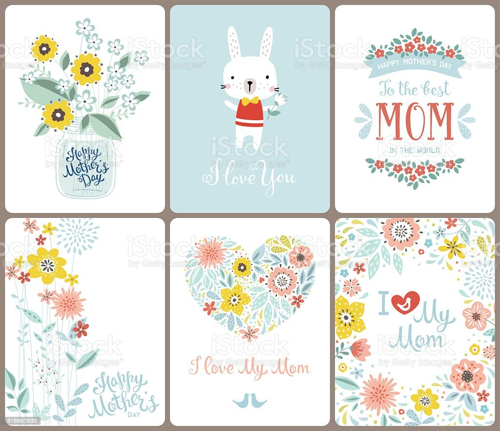 Mother's Day Cards vector art illustration
