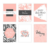Vector hand drawn Mother's day cards. Modern calligraphy, lettering, marble texture.