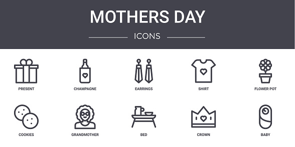 mothers day concept line icons set. contains icons usable for web, logo, ui/ux such as champagne, shirt, cookies, bed, crown, baby, flower pot, earrings
