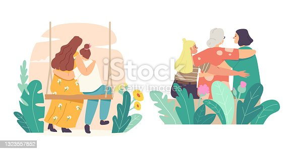 istock Mothers Day Concept. Loving Mother, Grandmother, Daughter and Granddaughter Hugging Rear View. Mom and Girl Embrace 1323557852