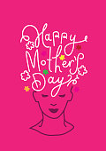 Mother's Day concept on pink background.