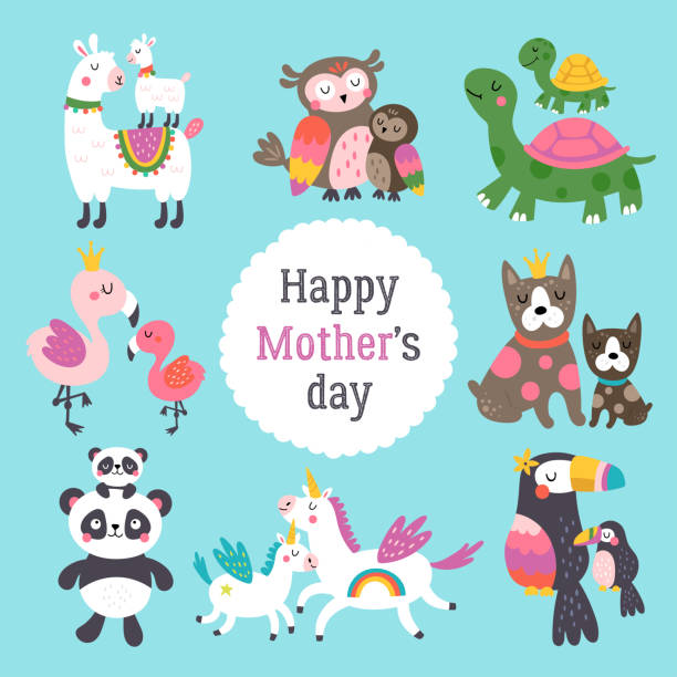 Mother's day cute animals set with mother and her child. Mother's day cute animals set with mother and her child. Childish print for cards, stickers, apparel and nursery decoration garden center stock illustrations