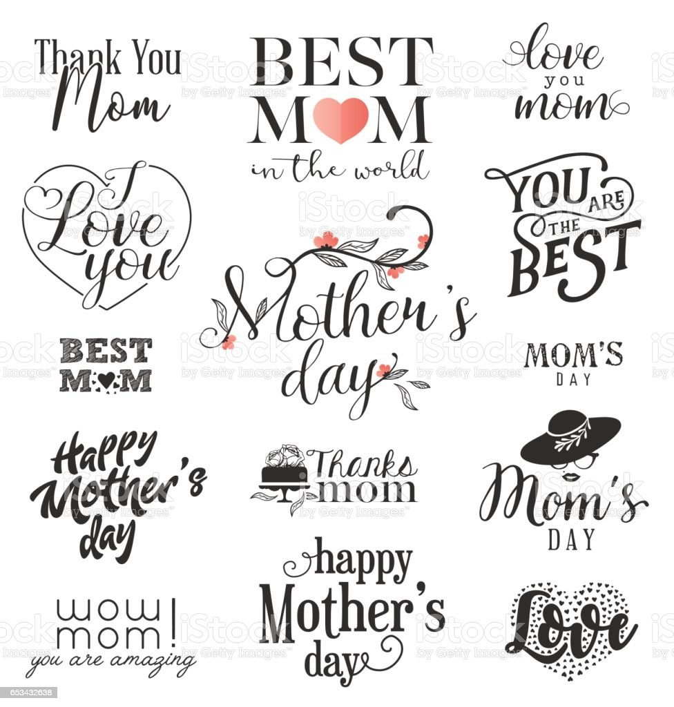 Mother's Day Design Elements vector art illustration