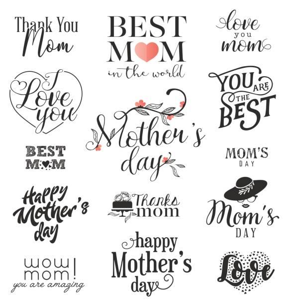 ilustraciones, imágenes clip art, dibujos animados e iconos de stock de elementos de diseño para el día de la madre - día de la madre