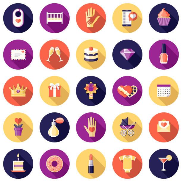 mothers day design icon-set - elternhochzeitsgeschenke stock-grafiken, -clipart, -cartoons und -symbole
