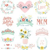 A set of cute greeting design elements for Mother's Day with flowers, hearts, birds, banners, dividers, Mason Jar and lettering. Vector illustration.