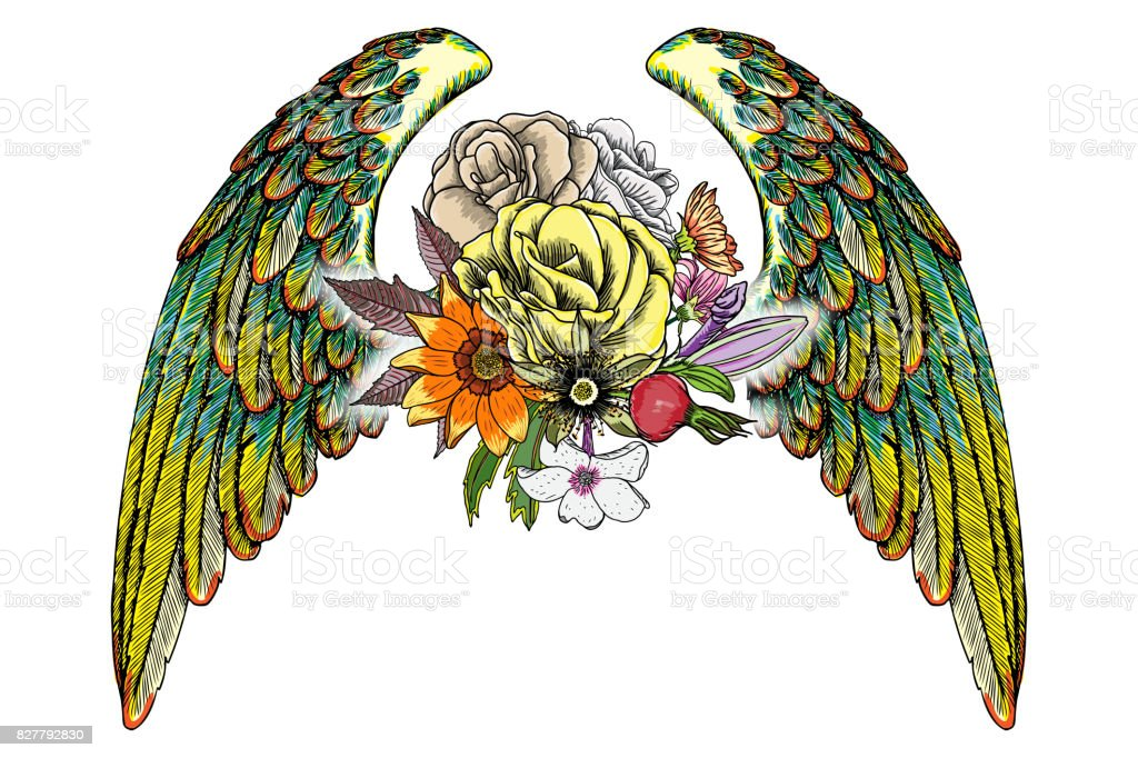 Mothers Day Drawing Layout Design With Roses Flowers And Bird Wings