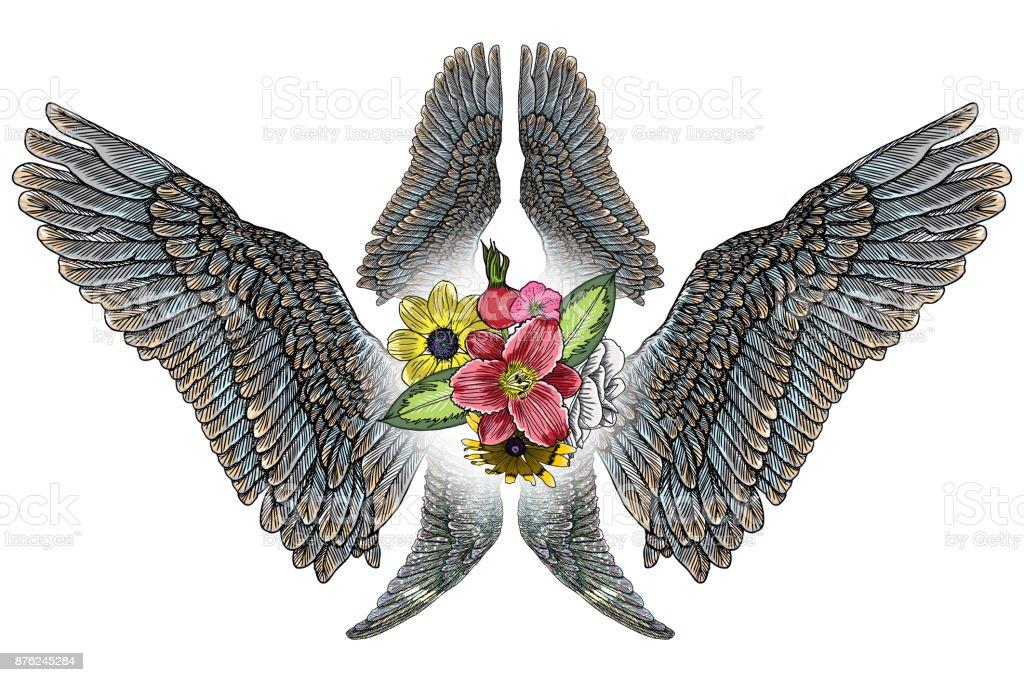 Zum Muttertag Zeichnung Layoutgestaltung Mit Rosen Blumen Und Vogel ...