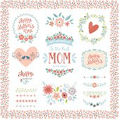 Mother's Day collection with typographic design elements. Flowers, branches, wreaths, floral frames, heart, birds and brushes. Vector illustration.