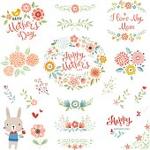 Mother's Day collection with typographic design elements. Cute bunny, flowers, branches, floral wreath and chick. Vector illustration.