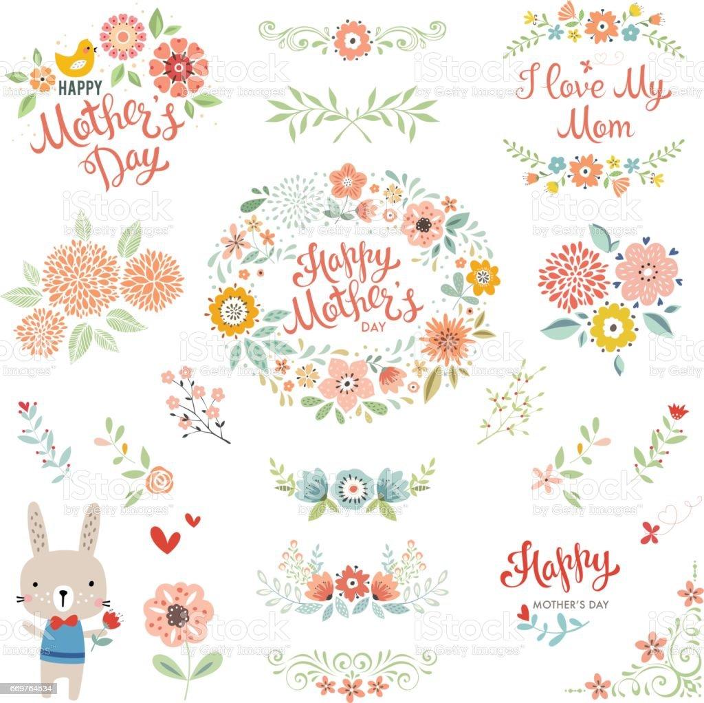Mother's Day Floral Elements_05 vector art illustration