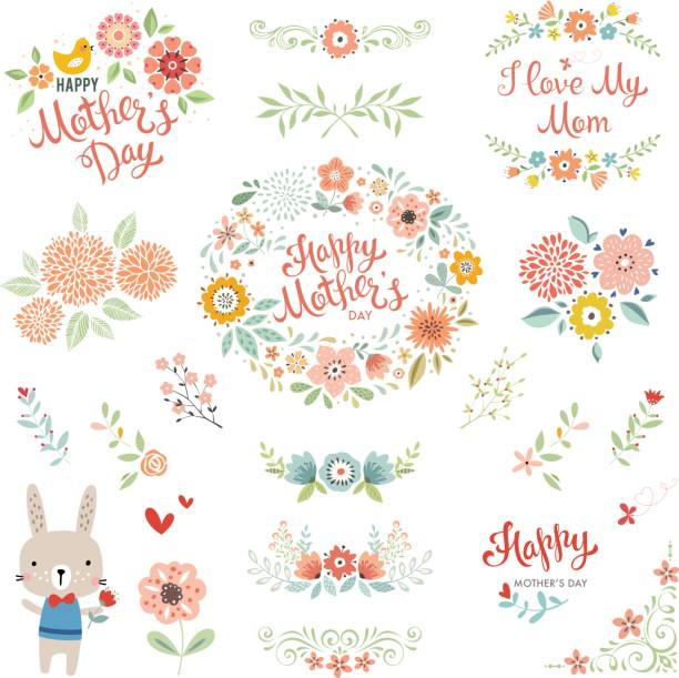 Mother's Day Floral Elements_05 vector art illustration
