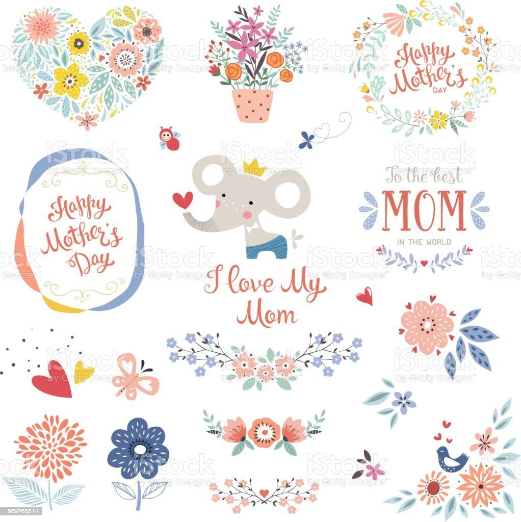 Mother's Day Floral Elements_06 vector art illustration