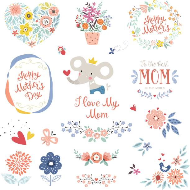 Mother's Day Floral Elements_06 vector art illustration