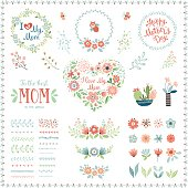 Mother's Day set with typographic design elements. Flowers, branches, brushes, wreath, floral heart, butterflies, plant pots and vases. Vector illustration.
