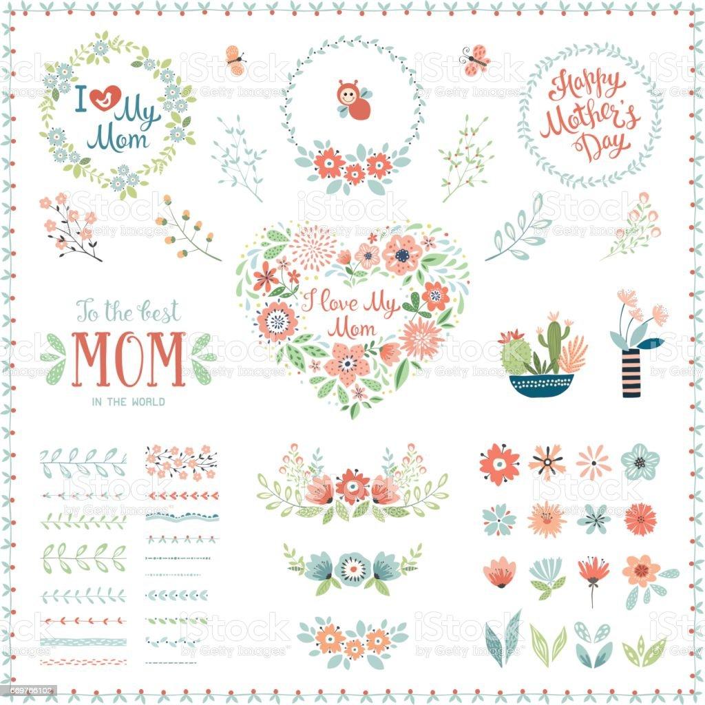 Día de la madre flores Elements_07 - ilustración de arte vectorial