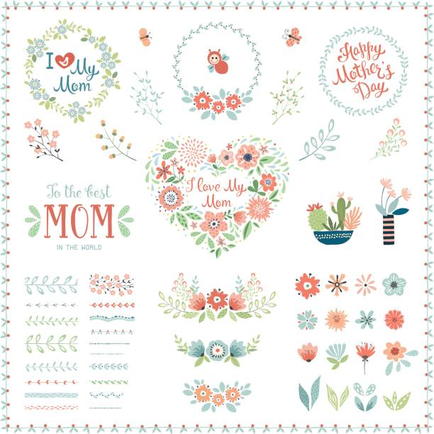 Mother's Day Floral Elements_07 vector art illustration