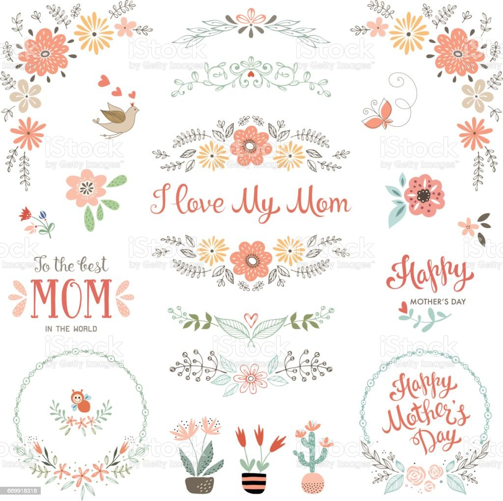 Mother's Day Floral Elements_09 vector art illustration