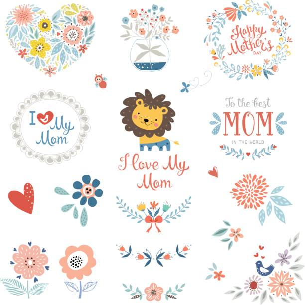 Mother's Day Floral Elements_10 vector art illustration