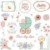 Mother's Day set with typographic design elements. Flowers, branches, wreath and frames, floral bouquets, plant pot, baby carriage and little boy. Vector illustration.