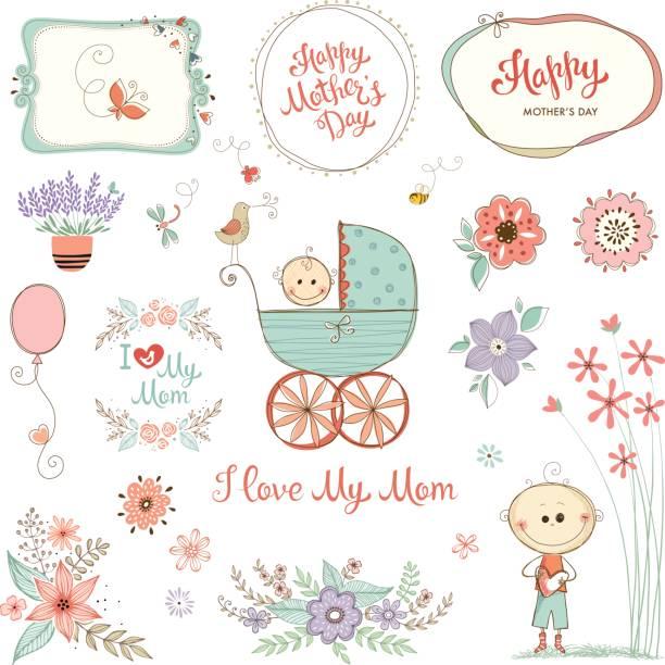 Mother's Day Floral Elements_12 vector art illustration