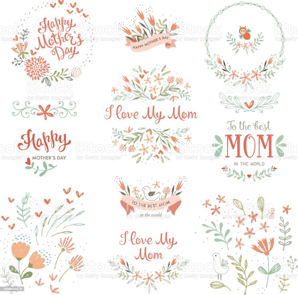 Mother's Day Floral Elements_14 vector art illustration