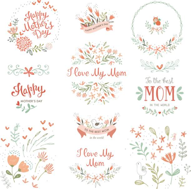 Mother's Day Floral Elements_14 Mother's Day set with typographic design elements. Hand drawn flowers, plants, branches, wreaths and frames, floral bouquets and compositions, decorative birds and banners. Vector illustration. shabby chic stock illustrations