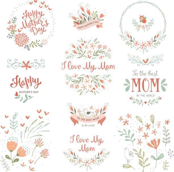 ilustraciones, imágenes clip art, dibujos animados e iconos de stock de día de la madre flores elements_14 - día de la madre