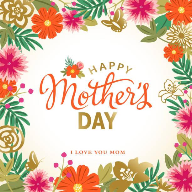 ilustraciones, imágenes clip art, dibujos animados e iconos de stock de marco flores día de la madre - día de la madre