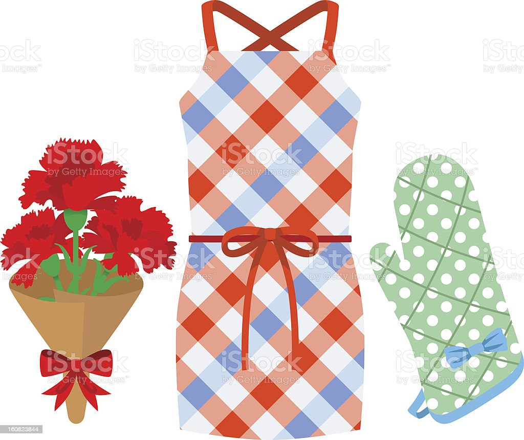 Mother's Day gift, Apron and Kitchen Mittens royalty-free stock vector art