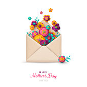 Happy Mothers Day gift, envelope with paper cut colorful flowers. Vector illustration. Festive greeting concept.