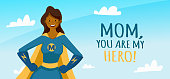 Mothers Day Greeting Card. African American super mom character design for Mother Day Banner, Poster, Background. Vector stock.