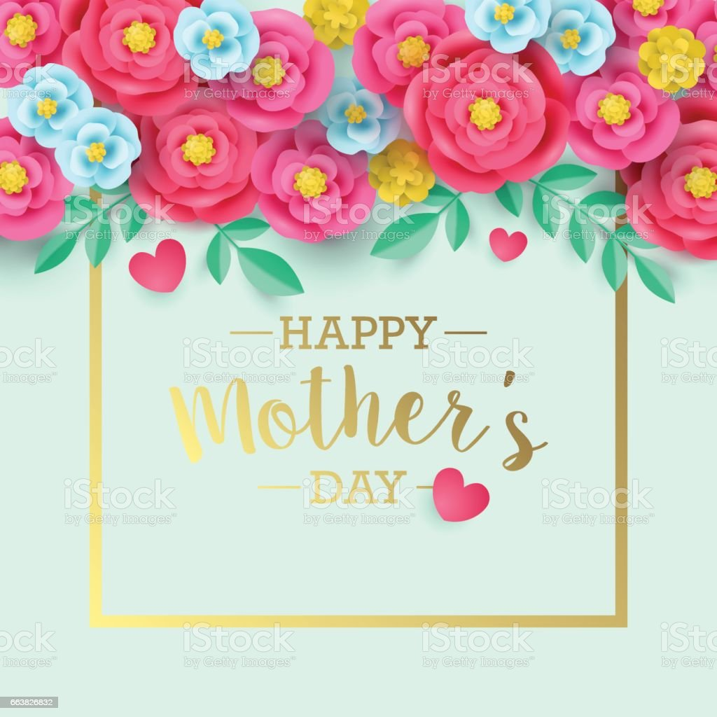 Mothers Day Greeting Card Design With Abstract Paper Flower
