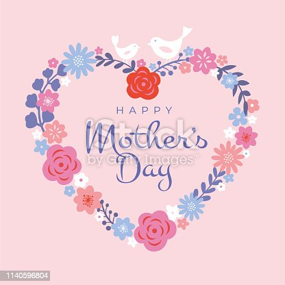 istock Mothers Day greeting card. Floral heart background, spring holidays. Vector Illustration 1140596804