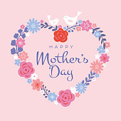 Mothers Day greeting card. Floral heart background, spring holidays. Vector Illustration