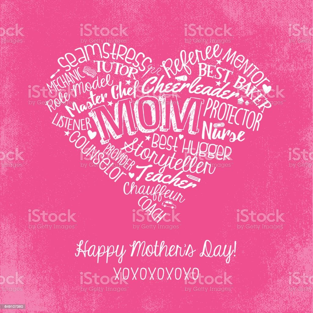 Mothers Day Greeting Card Handwritten Words Inside A Heart Shape