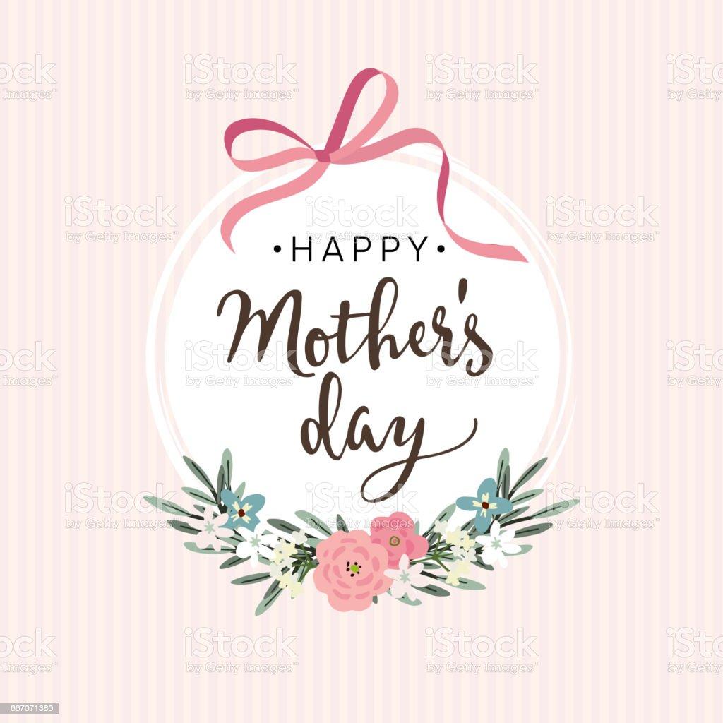 Tarjeta de felicitación del día de las madres, invitación con cinta, flores - ilustración de arte vectorial