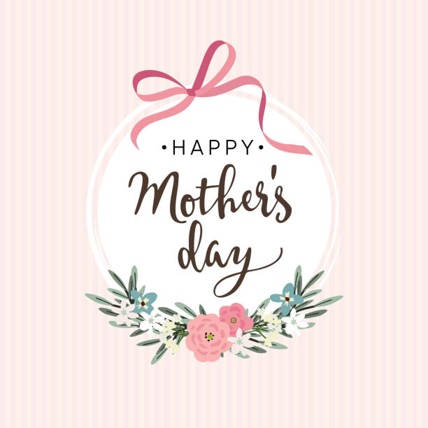 Mães dia cartão, convite com fita, flores - ilustração de arte em vetor