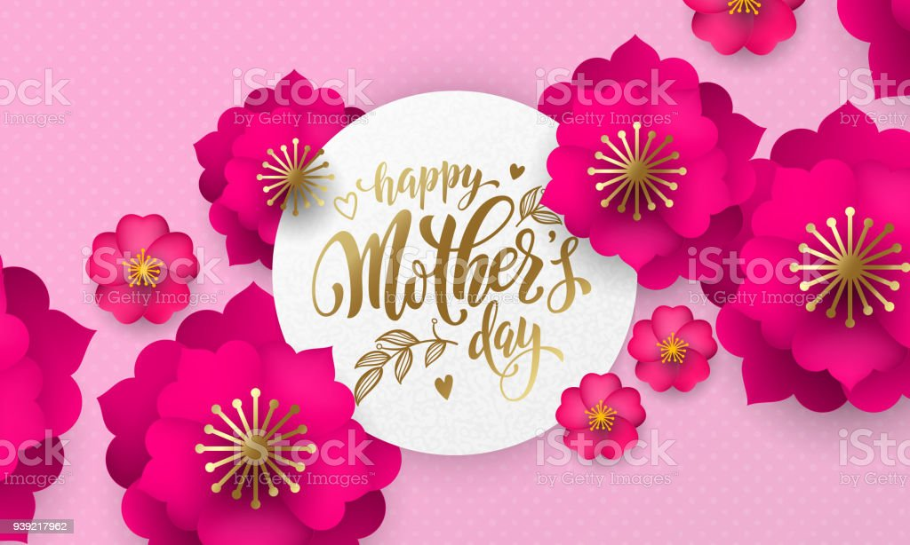 mothers day greeting card of red flower pattern and gold