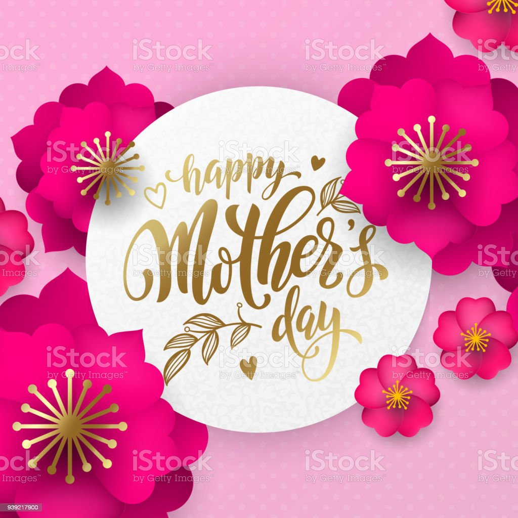 Mothers Day Greeting Card Of Red Flowers Pattern And Gold Text