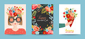 Mothers Day Greeting Card Set. Spring Happy Mother Day Holiday Banner with Flowers and Mom Character with Bouquet for Flyer, Poster. Vector illustration