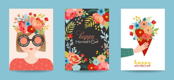 stockillustraties, clipart, cartoons en iconen met moeders dag wenskaart set. lente gelukkige moeder dag vakantie banner met bloemen en moeder karakter met boeket voor flyer, poster. vector illustratie - bloesem