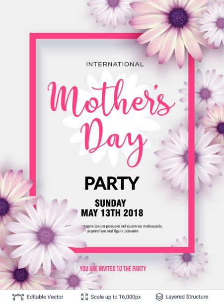 ilustraciones, imágenes clip art, dibujos animados e iconos de stock de plantilla de tarjeta de felicitación del día de la madre. - día de la madre