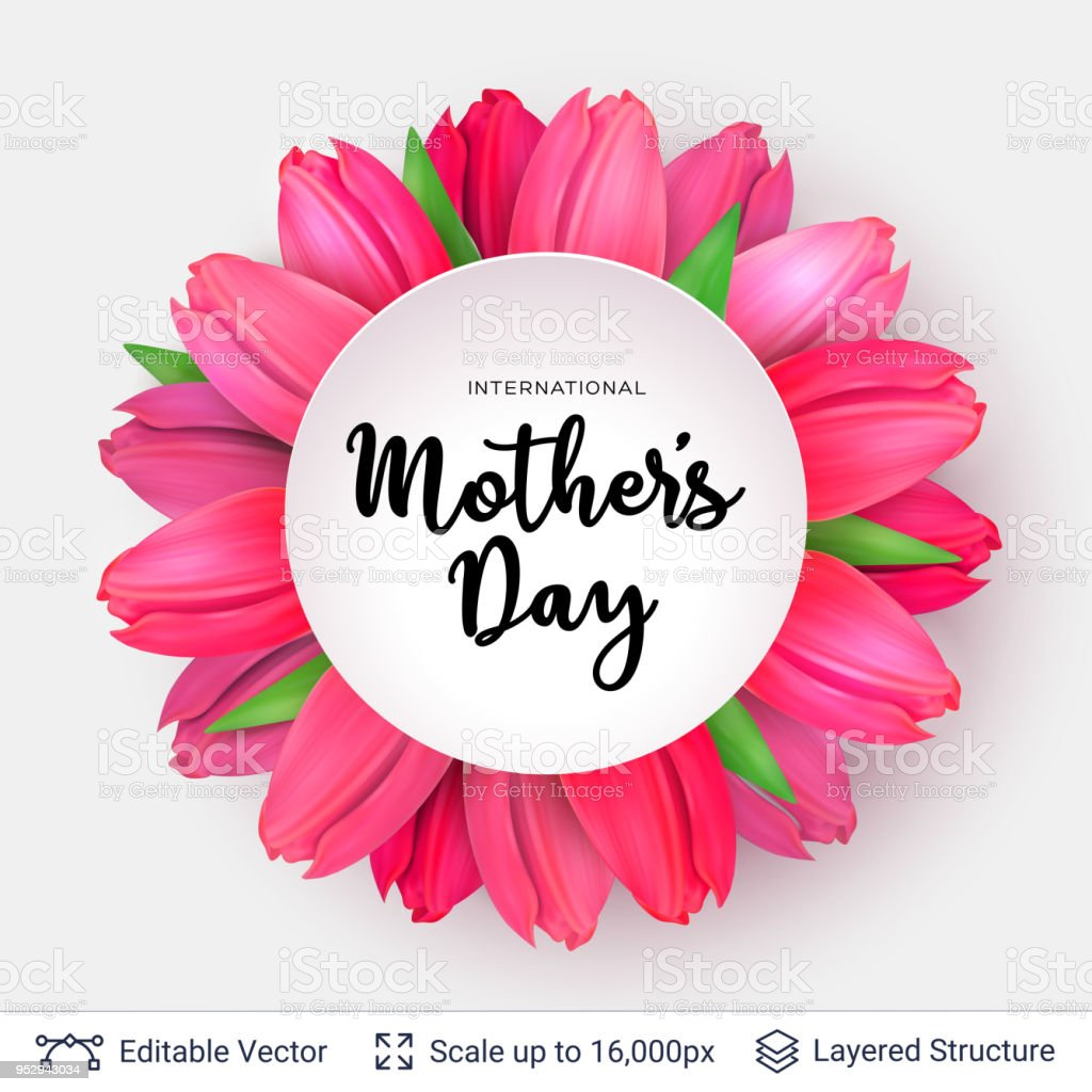 Mothers Day Greeting Card Template Stock Vector Art More Images Of