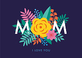 Mother's day lettering design with beautiful blossom flower. Stock illustration