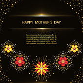 Mother's Day greeting poster with flowers on black background.