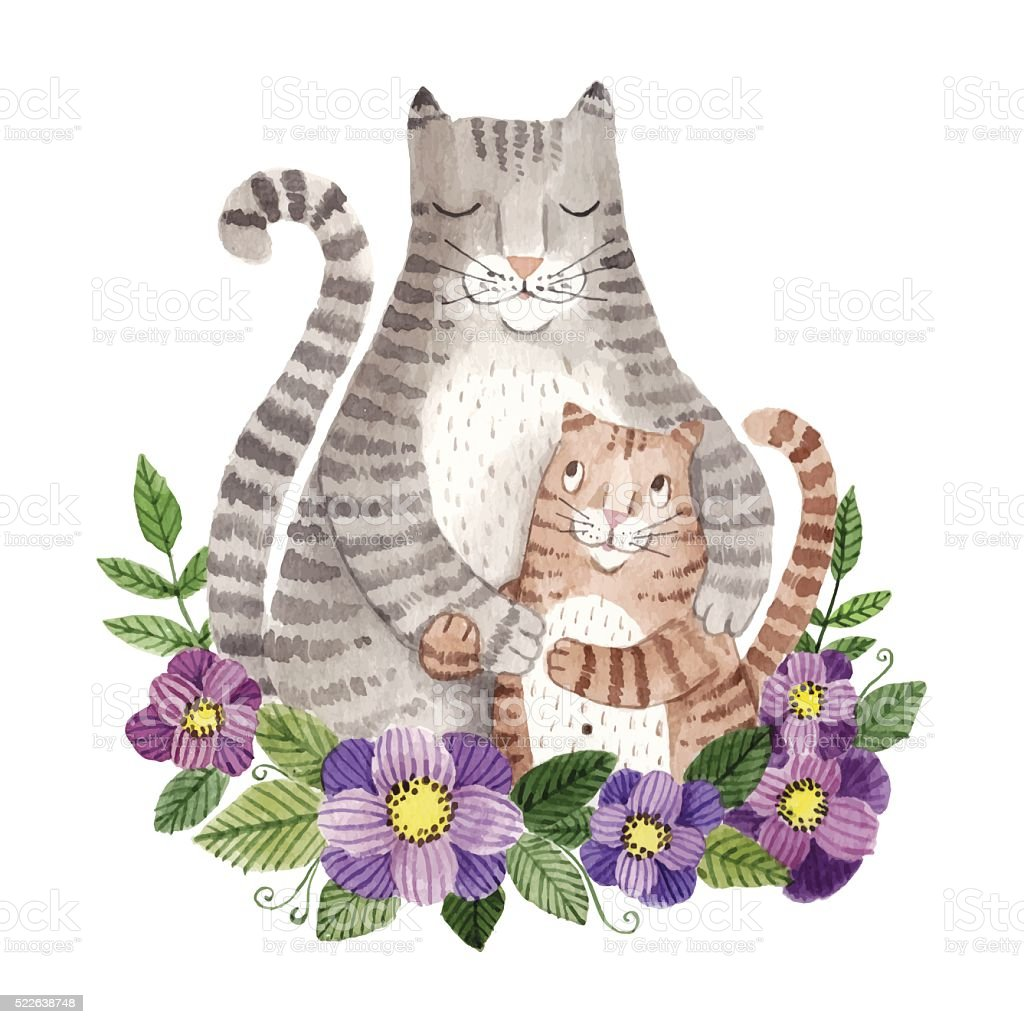 mother's day greeting card with cats vector art illustration